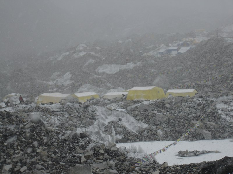 Above: Part of base camp seen through the blizzard.