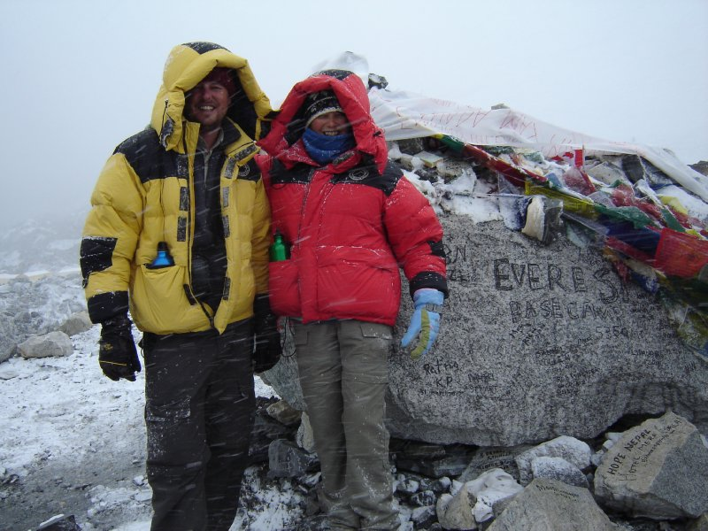 Above: At Everest Base Camp (5364m) having completed the 175km hike from Jiri in just over two weeks.