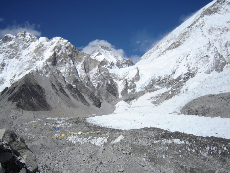 Above: A view of base camp and the Khumbu Icefall.