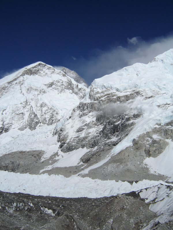 Above: Everest peaking out above its West Ridge.