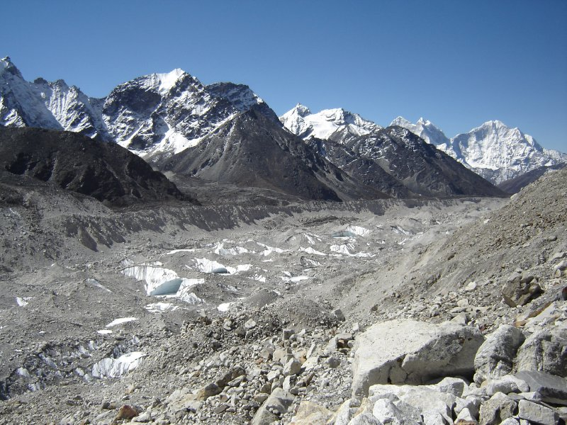 Above: The Khumbu Glacier flowing down the valley. The glacier is around 12 miles long.