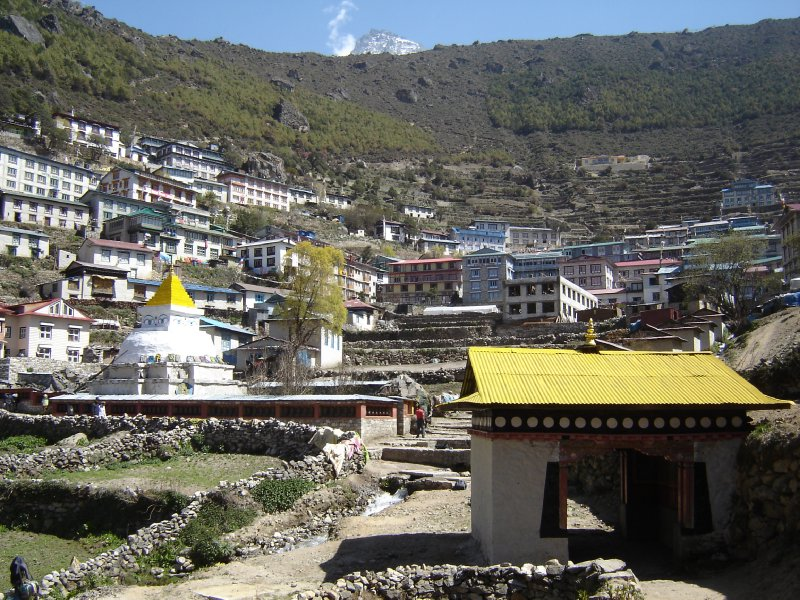 Above: A picture of Namche that we took on our way back down when the weather was better.