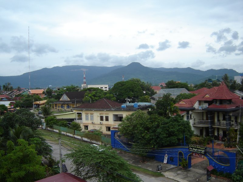 Above: View over Kampot and the surrounding hills.