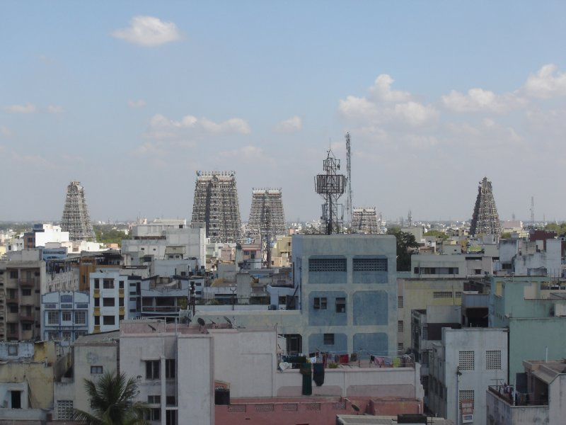 Above: Looking across the Madurai skyline and Sree Meenakshi Temple.