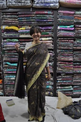 finally, i tried on a sari!