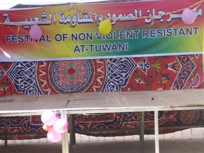 Non Violence sign, At Tuwani