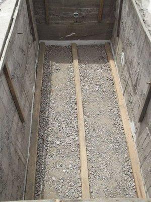 Pit floor foundations