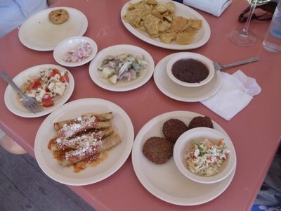 Botana's (free snacks) at Eliados Restaurant on the beach in Progreso