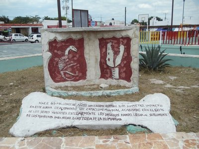 Chicxulub square where the meteor hit 65 million years ago and extinguished the Dinosaurs