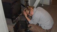 Hannah uses the hairdryer at Gunns Camp!