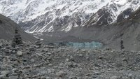 The end of the Glacier walk at Mount Cook