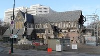 The cathedral in central Christchurch shows her scars!