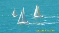 Yachts race around the island.....