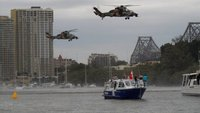 Helichoppers over the river