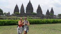 The girls arrive at Prambanan