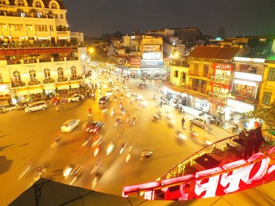 Evening rush hour traffic in central Hanoi, Vietnam