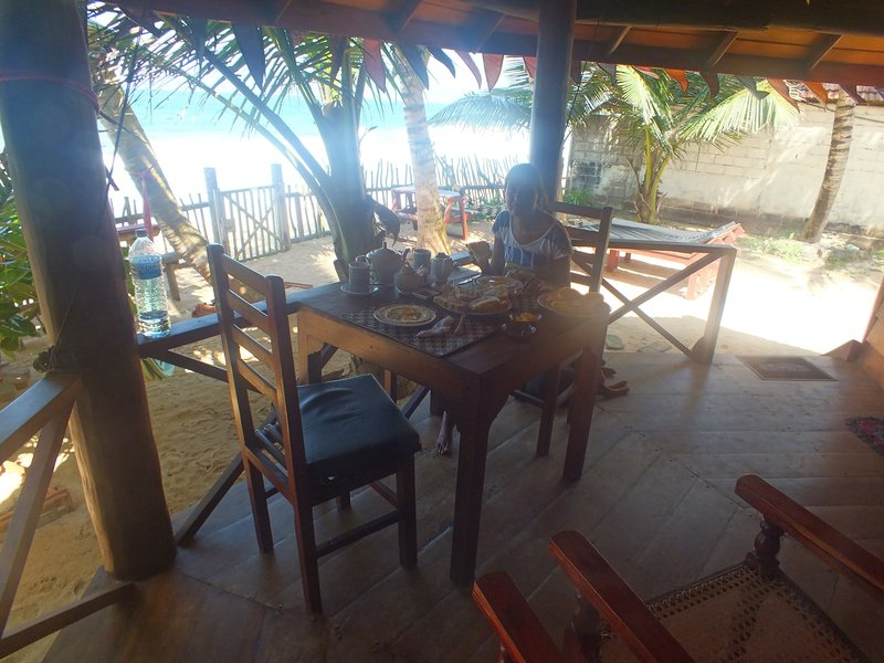 Breakfast on the veranda of our private beach cabana, Unawatuna, Sri Lanka