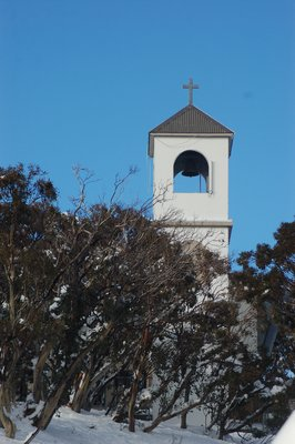 Chapel fronted by Snowgums in Mount Buller village