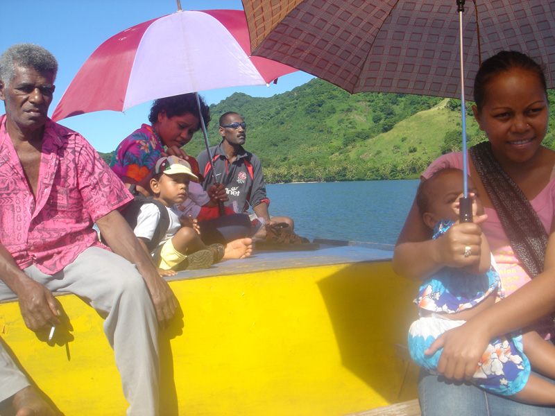Travelling on the Village Boat back to Navua