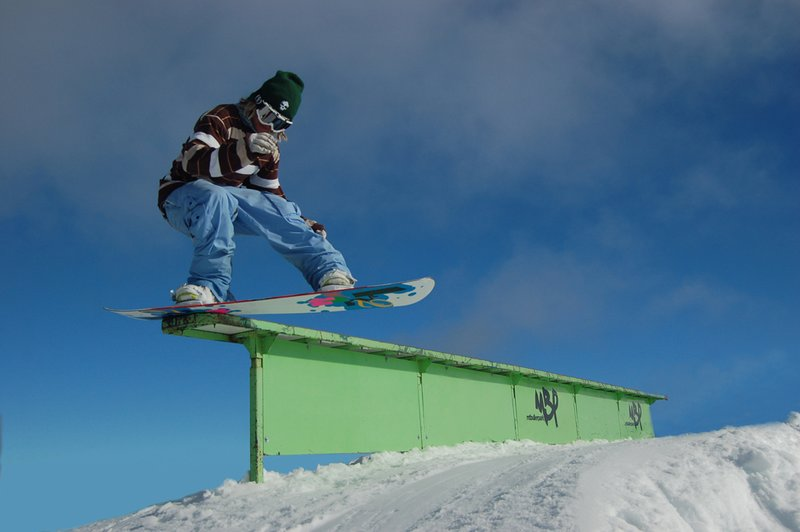 casey pulling his signature front-side tail press (?) @ Mount Buller Park