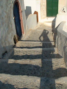 Winding steps at Oia on Santorini