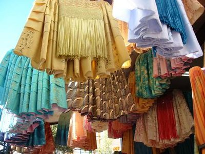Traditional bolivian dress store in market