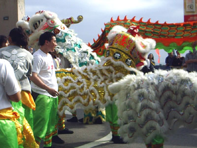 Dragon dance performance during Chinese New Year in Stanley, a popular tourist area