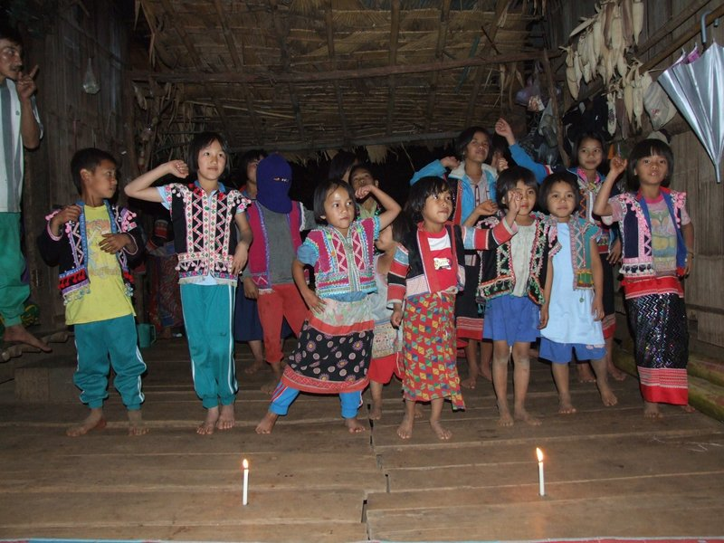 Lahu children performing at night