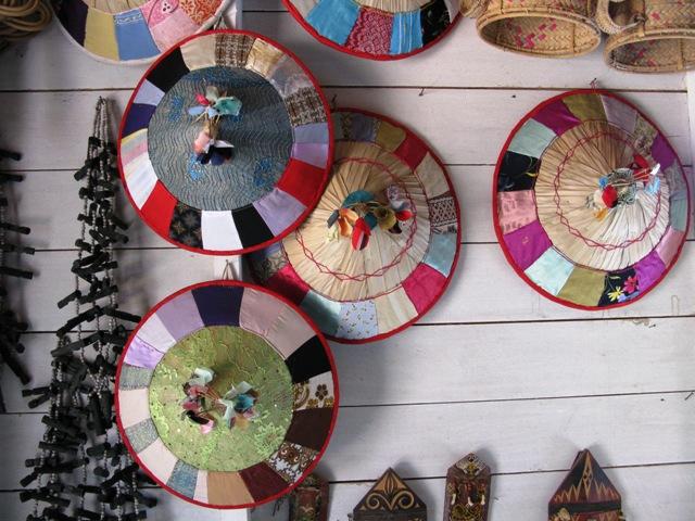 Traditional hats for villagers along Sungai Mahakam