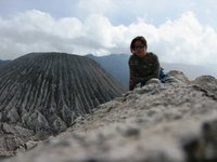 Trekking around Crater of Gunung Bromo
