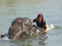 Bathing Kwaeta in the lake