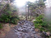 Heavy rain on Hallasan summit trail