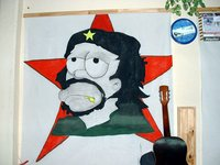 Homer Simpson as Che at Salta hostel