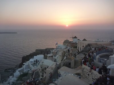 Picture perfect sunset in Oia, north coast Santorini