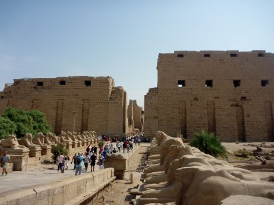 Entering the huge temple complex of Karnak