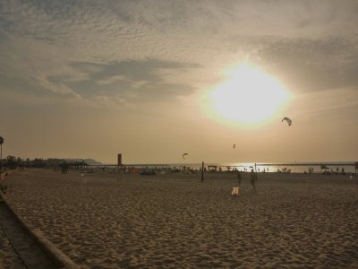 Sunset on the beach in Tel Aviv