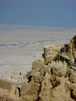 The remains of King Herod&#39;s palace on the side of the cliff