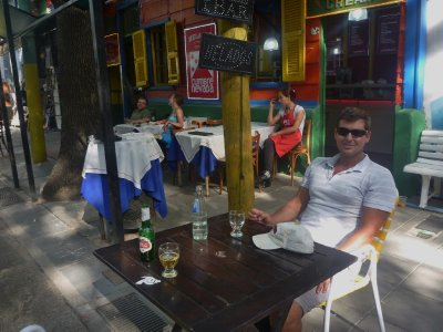 Enjoying a cold drink in Caminito