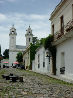 The quaint church and cobble stone streets of Colonia del Sacramento