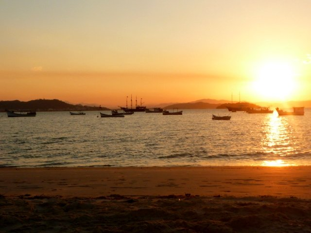 Sunset on the northern tip of Florianopolis