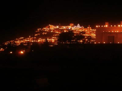 The village of Pyrgos lit up for Easter