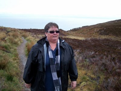 Walking on the heather covered hills - near Auckengill