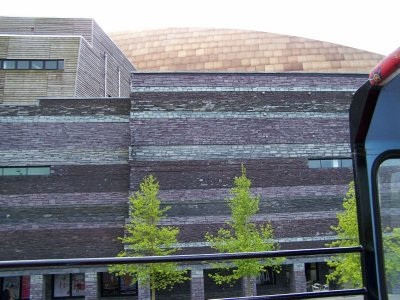 The multi-coloured slate that makes up the sides of the Millennium Centre