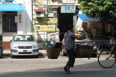Water carrier on the streets of Yangon