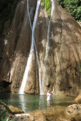 Waterfall swimming