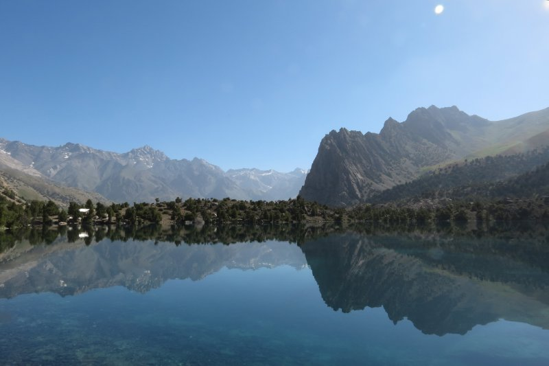 Morning reflection at the Aluaddin Lakes