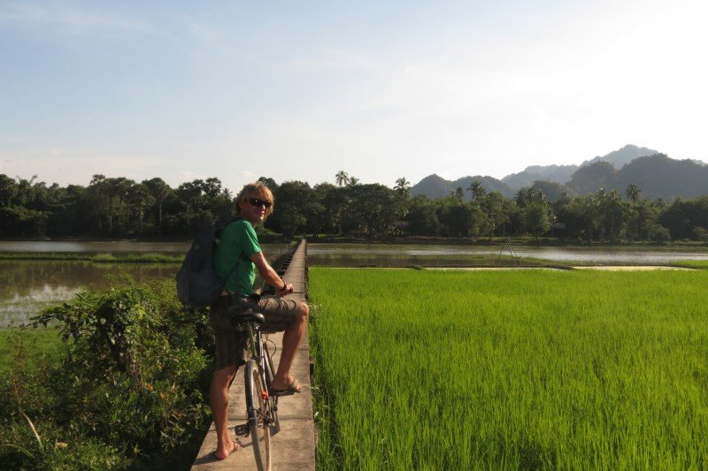 Cycling through the rice paddies