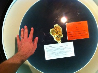 A genuine gold nugget in the Gold Museum, Ballarat