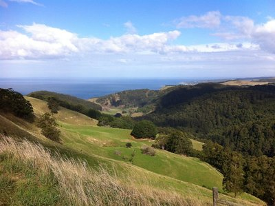 Looking over the Skenes Creek Rd and Great Ocean Rd intersection into Bass Strait