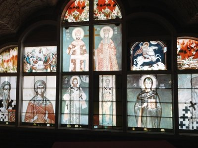 Stained glass in the underground Serbian Orthodox church